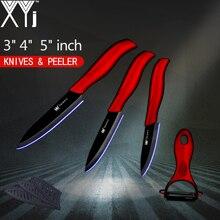 XYj Кухня Ножи 3 «4» 5 «дюймов фрукты для шашлыков + нож оболочка набор керамических ножей черный клинок Радужная рукоятка пособия по кулинарии инструменты