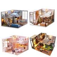 Casa de muñecas hecha a mano muebles Miniatura casas de muñecas de manualidades casa de muñecas en Miniatura juguetes de madera para niños adultos Regalo de Cumpleaños L023