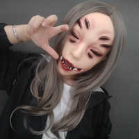(LI) Weibliche Harz Hälfte Kopf Kigurumi Crossdress Cosplay Japanischen Anime Rolle Monster Maske Ohne Augen