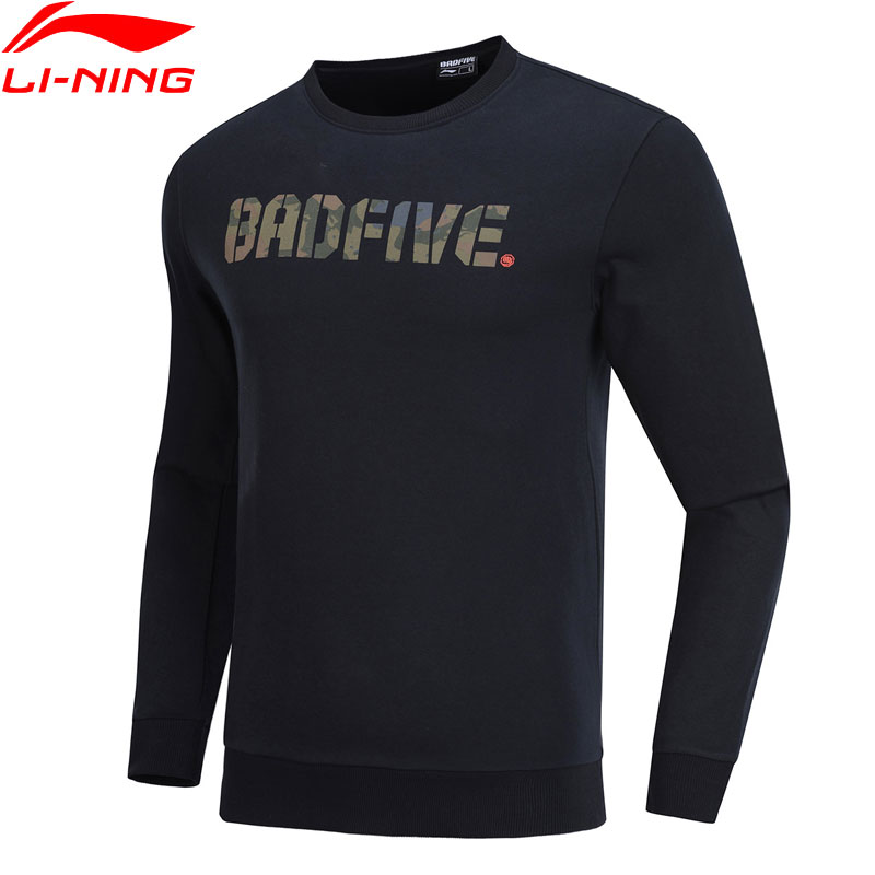 Li-Ning Men Basketball BAD FIVE Sweater Regular Fit 88% Cotton 12% Polyester LiNing Comfort Sports Pullovers AWDP085 MWW1557