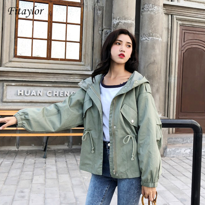 Fitaylor New Trench Coat Spring Autumn Women's Hooded Black Green Windbreaker Outerwear Female Casual Trench  Coat