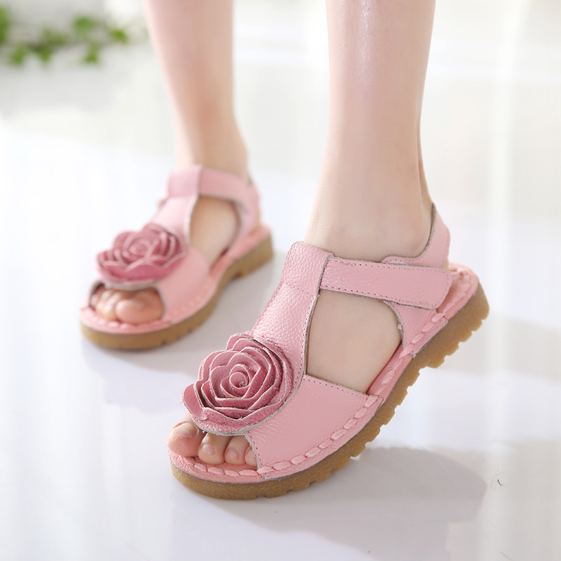Girls Shoes Genuine Leather Kids Summer 2019 Baby Girls Sandals Beach Shoes Skidproof Toddlers Children Kids Flower Shoes