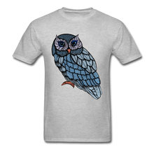 Blue Owl Tshirt Man Clothes New Fashion Mens T-shirts Crewneck Short Sleeve Pure Cotton Tops Tees Custom T Shirt Drop Shipping(China)
