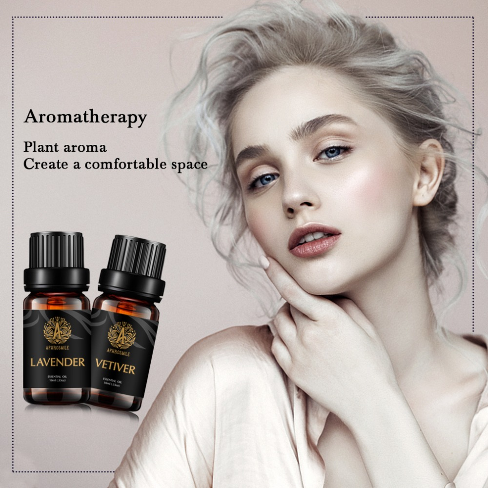 A APHROSMILE Brand Body Massage oil 10ml Organic Natural Oil Plant Aroma Oil Effective in Relieving Anxiety Vetiver+Lavender Set