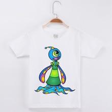 Hot Selling Children T-shirt Funny Cartoon Alien Print Cotton Boys Short Sleeve T Shirts Kids Clothes Boy Top Tee Free Shipping alien print tee