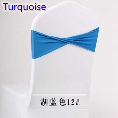 Colour Turquoise spandex sashes lycra sash for chair cover spandex bands bow tie For Wedding Decoration banquet design for sale