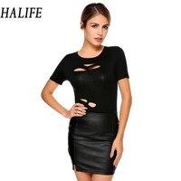 HALIFE Women Punk Rock T Shirt Fashion O Neck Short Sleeve Hole T Shirt Tee Shirt