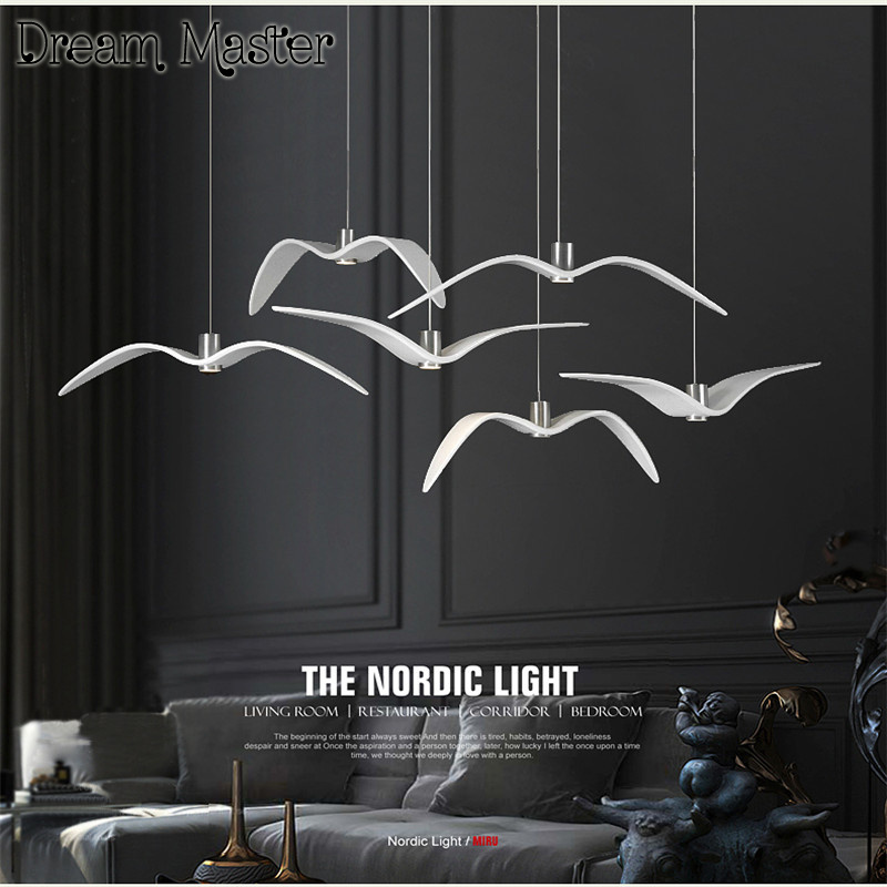 Nordic creative seagull chandelier modern minimalist fashion art bar bedroom dining room lamp Postage free nordic cozy restaurant chandelier modern minimalist dining room creative art living room study kitchen counter lamp postage free