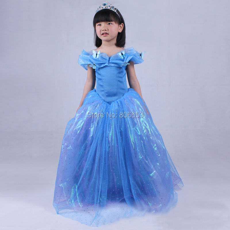 Cinderella 2015 Costumes Girls Dresses Shoes Jewelry: 2015 Movie Cinderella Princess Dress Kids Deluxe