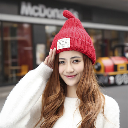 Women NYC letters patch cloth plus cashmere knit cap Autumn and winter tide sharp pacifiers warm hat
