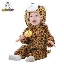 MICHLEY New Toddlers Pajamas Unisex Baby Cosplay Animal Flannel Romper  Autumn and Winter Kids Outfits Suit XYZ-leopard