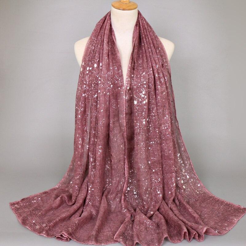 Popular women plain bandhnu cotton glitter silver bohemian shawls hijab summer muslim long scarves scarf 8
