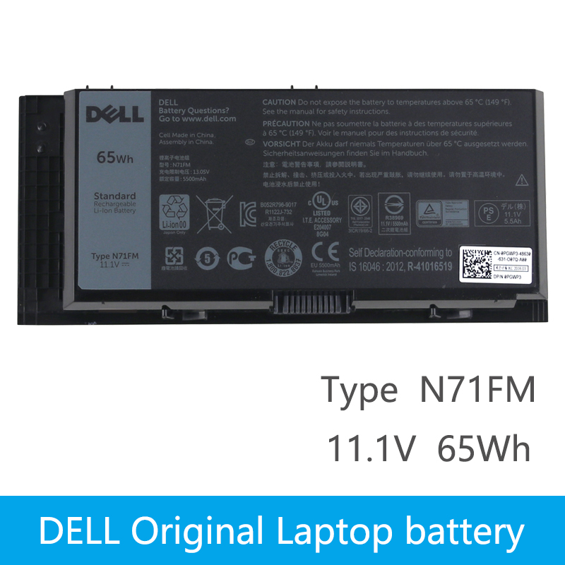 Original Laptop battery For DELL Precision M4600 M4700 M4800 T3NT1 N71FM FJJ4W 65Wh original laptop battery for dell precision m4600 m4700 m4800 t3nt1 n71fm fjj4w 65wh