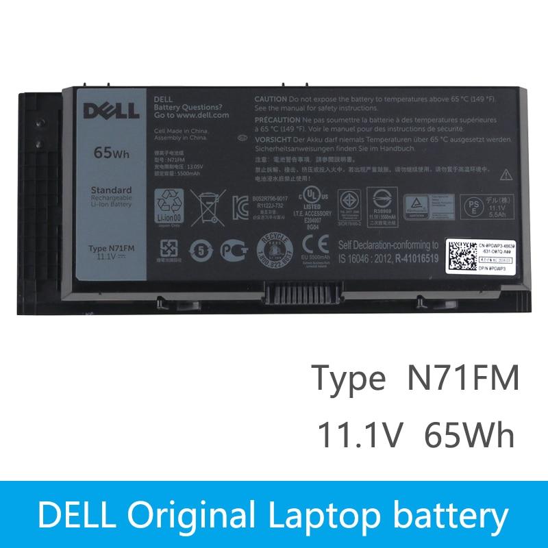 Original Laptop battery For DELL Precision M4600 M4700 M4800 T3NT1 N71FM FJJ4W 65Wh slim 19 5v 9 23a 180w laptop charger adapter for dell precision 7510 7520 m4600 m4700 m4800 mobile workstation da180pm111