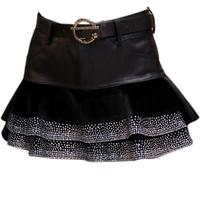 Pu leather mini skirt women 2019 winter diamond high waist horse hair stitching ball gown skirt