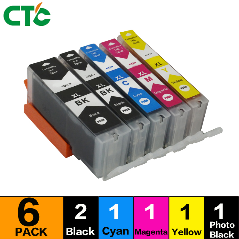6pcs Compatible ink cartridge PGI-520 CLI-521 for canon PIXMA MP620 MP630 MP640 MP980 MP ...