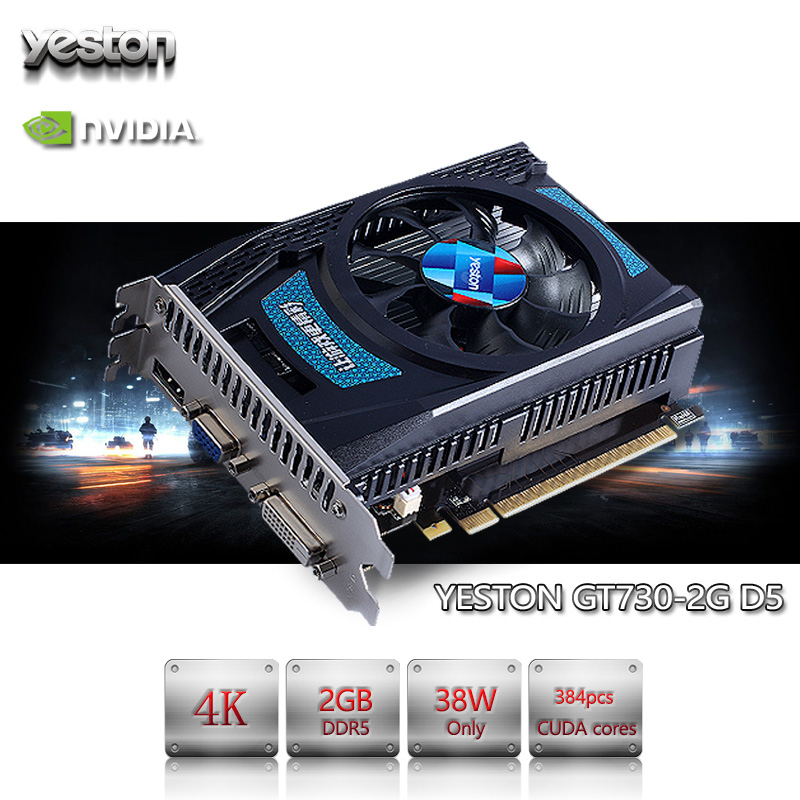Yeston GeForce GT 730 GPU 2GB GDDR5 64 bit Gaming Desktop computer PC Video Graphics Cards support PCI-E X8 2.0 best for msi gt60 gt70 gaming laptop computer graphics video card nvidia geforce gtx 680m gddr5 2gb replacement optical case