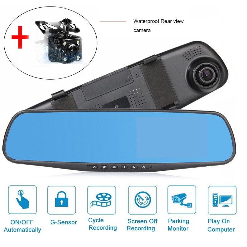 Nouveau 4.3 pouce Double Objectif Dash Caméra 1080 p Voiture DVR Dash Cam Véhicule Enregistreur 170 degrés véhicule blackbox dvr enregistrement de cycle