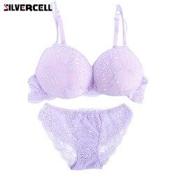 4c3bca850084f SILVERCELL Sexy Women Embroidery Lace Bra Set Lady Lingerie bra+briefs Underwear  Set Satin Lace Push Up Bra