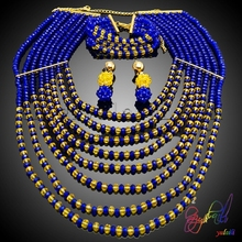 Free Shipping Hot sale elegant bead jewelry sets for wedding latest design african beads jewelry set nigerian beads jewelry set