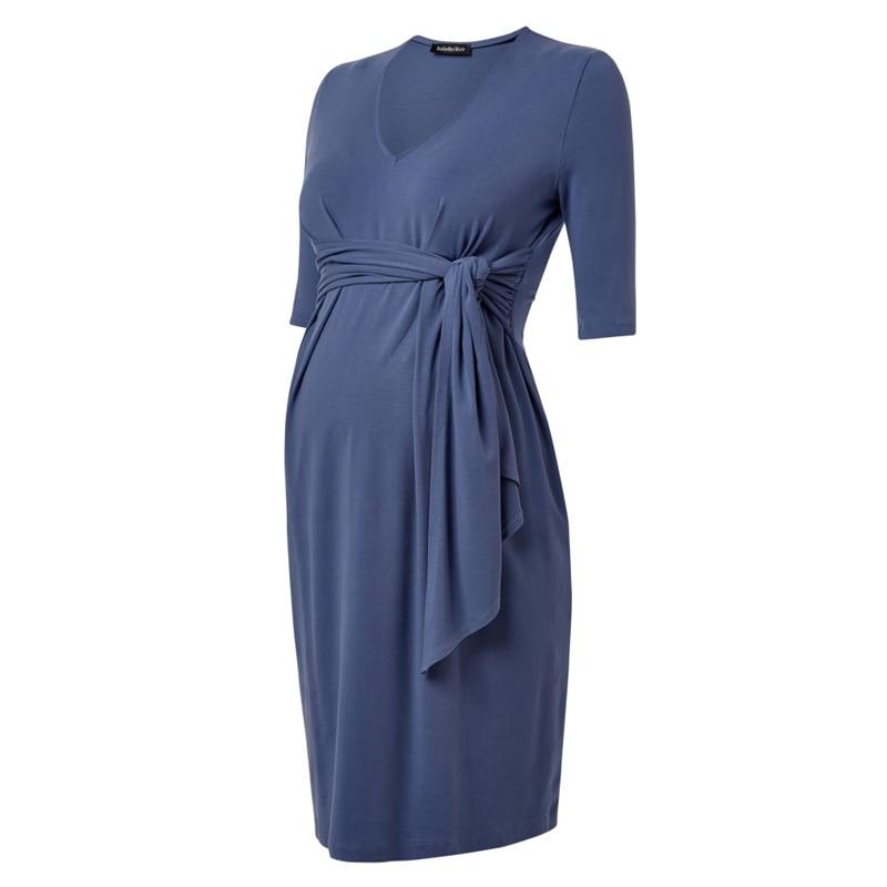 High Waist Tencel Knee Length Maternity Dresses Elegant Blue A-Line Office Women Vestidos V-Neck Dress+Sashes for Pregnant Women fancy bateau neck half sleeves lace sashes a line knee length prom dress designed