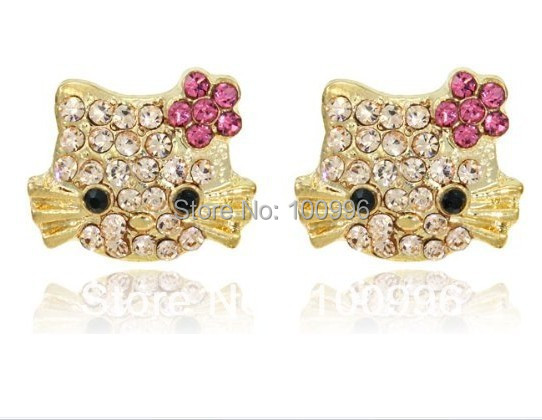 Cute Hello Kitty Earrings For Girls Gold Plated Crystal Stud