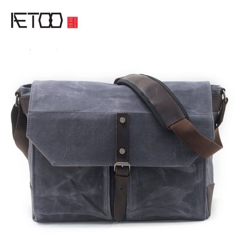 AETOO New men's shoulder bag oil wax canvas package retro leisure men package aetoo 2017 new 100