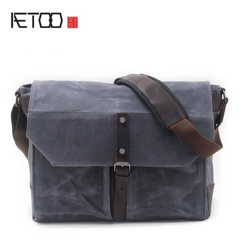 AETOO New men's shoulder bag oil wax canvas package retro leisure men package aetoo new men s shoulder bag oil wax canvas package retro leisure men package
