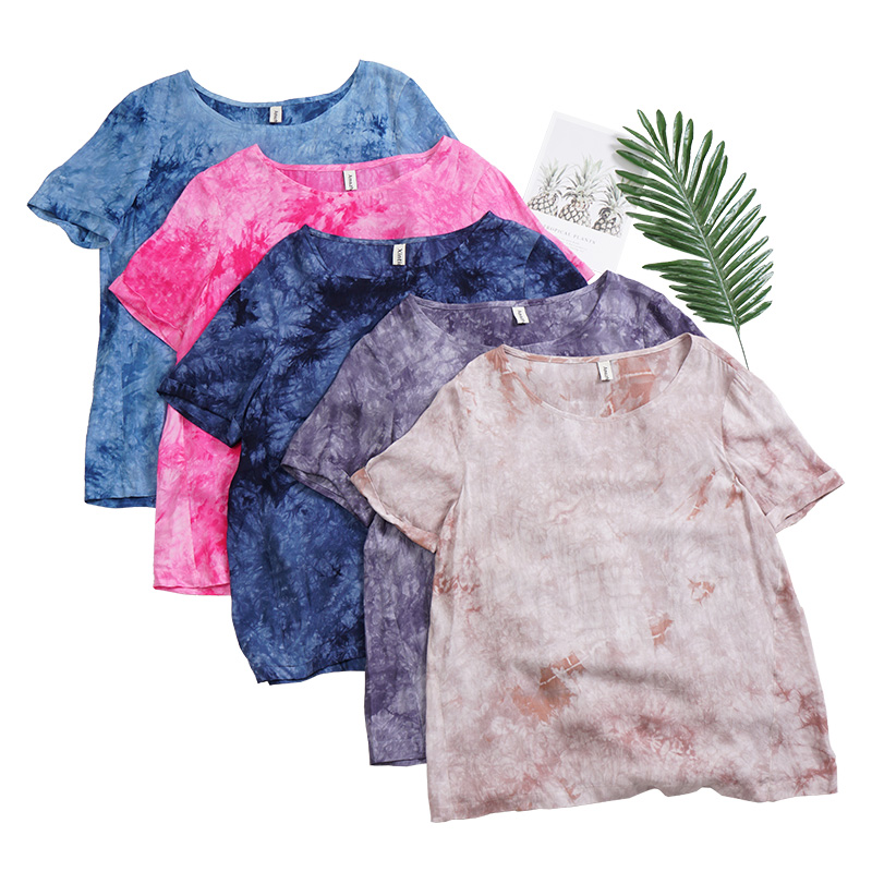 Mimacoo Tie Dye Shirt for Womens Short Sleeve Tee Crew Neck Pullover Colorful Print Top Casual Loose Blouse