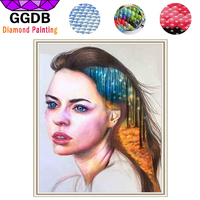 GGDB DIY 5D Diamond Painting Color Lead Painting Art Portrait Beautiful Girl Resin Wall Picture For