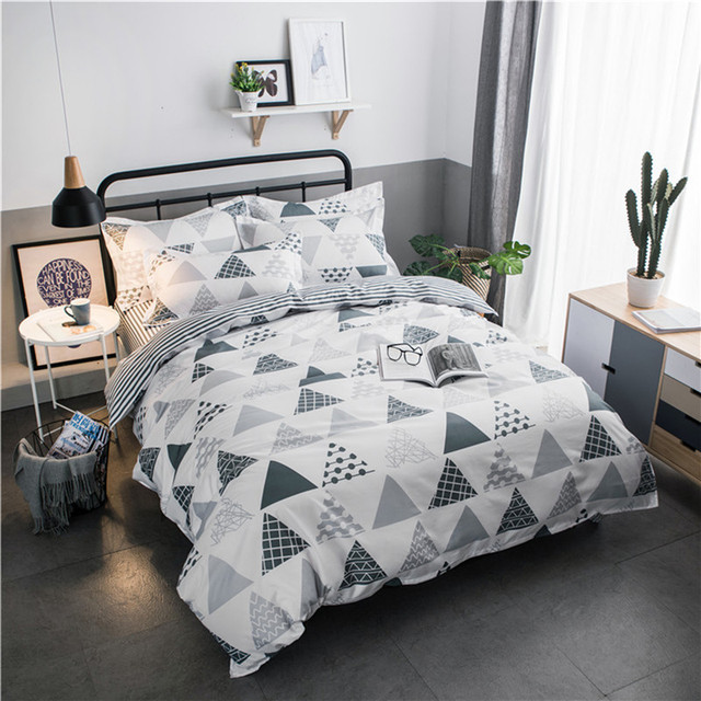 Fadfay Simple Bedding Sets Queen Soft Bedclothes Plaid Print Comforter Duvet Cover Set With Pillowcases 3pc Bed Set Home Sets