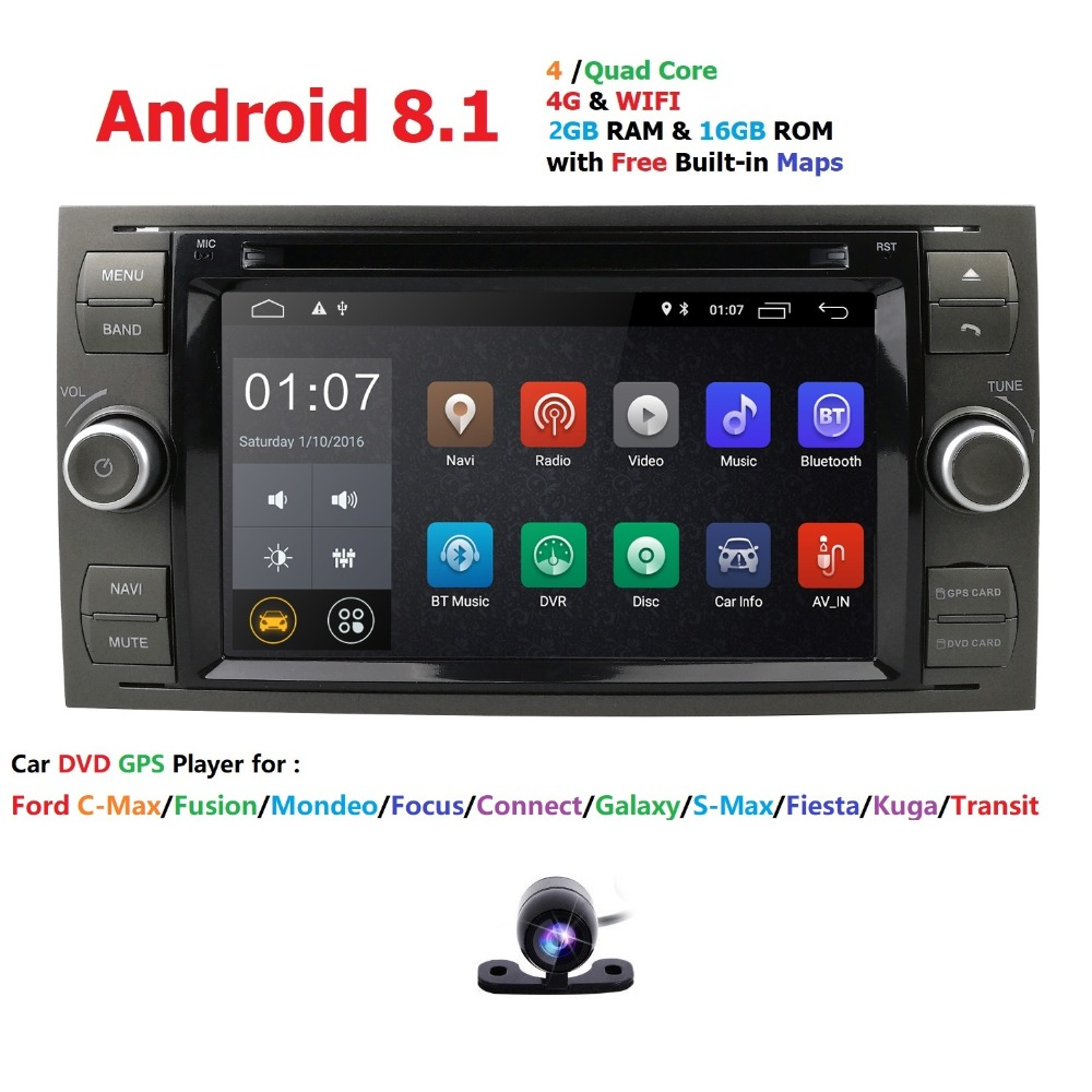 Quad Core AutoRadio 2 din Android 8.1 dvd de voiture lecteur multimédia Pour Ford Focus 2 3 Mondeo S C Max Fiesta Galaxy voiture Audio Wifi