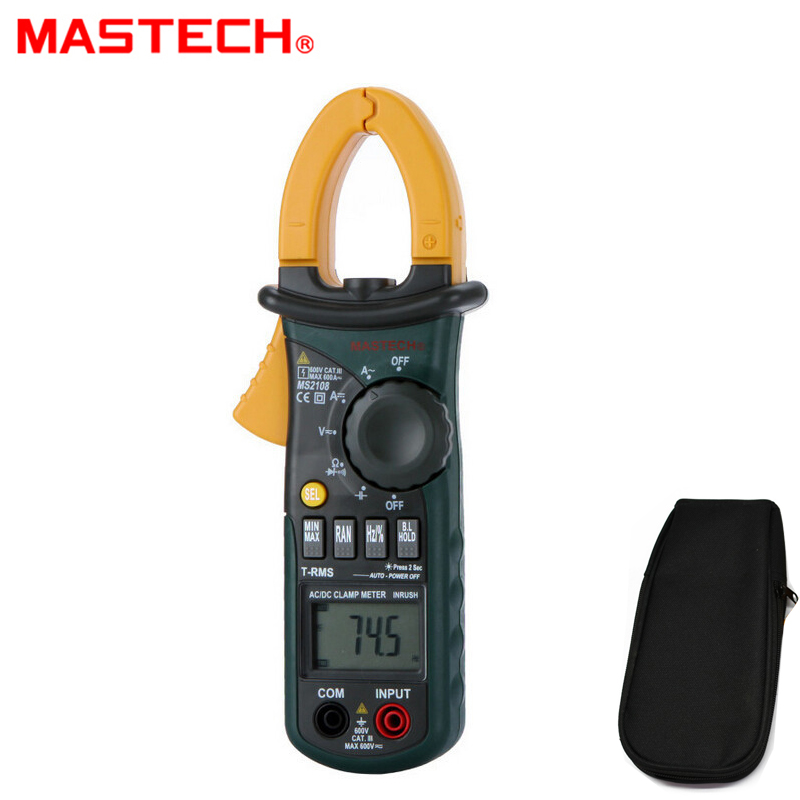 Mastech MS2108 6600 Counts Digital Clamp Meter True rms Inrush 66mF Capacitance Frequency AC DC current