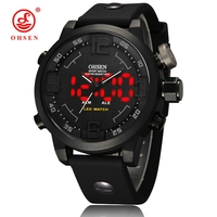 OHSEN Mens Military Watch Sports Watches 2 Time Zone Analog Digital LED Quartz Waterproof Swim Dive