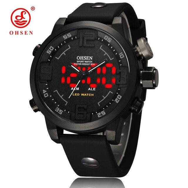 e83ea516b31 OHSEN Relógio Esportivo Militar Homem Homens Relógio de Quartzo Analógico Digital  Masculino 50 m À Prova