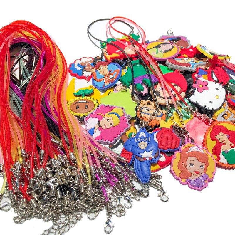 100PCS Shipped by Random Mixed Hot Cartoon Soft PVC Pendant 51cm Necklace Chain Choker Accessory Kids