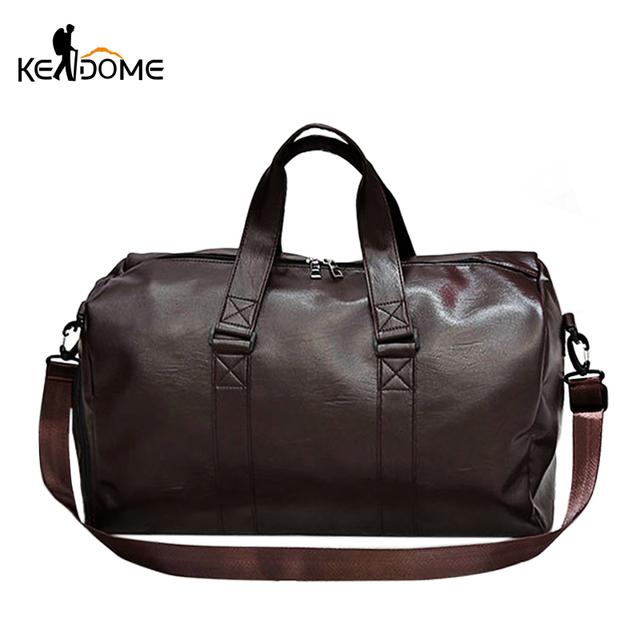 2018Male Outdoor Sport Gym Fitness Bag for Shoes PU Leather Camping Training Over the Shoulder Bag Travel Luggage HandbagXA852WD
