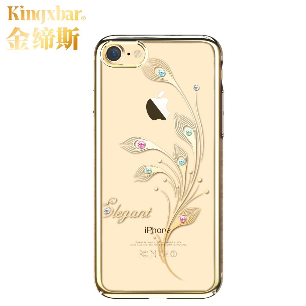 imágenes para Kingxbar Para iPhone 7 Plus 7 Caso de Electrochapado de Lujo Flor Dura de la PC 360 Protección Completa Cubierta Con Cristales de Swarovski