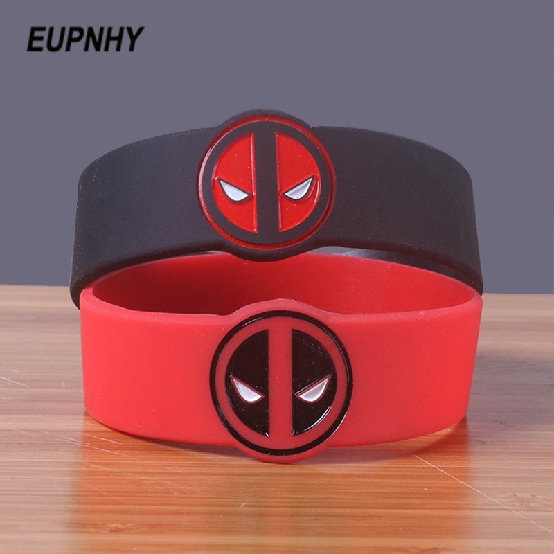 EUPNHY Black/Red Deadpool Silicone Wristband Sports Bangle Bracelet for Women Men Birthday Gifts Jewelry Accessories image