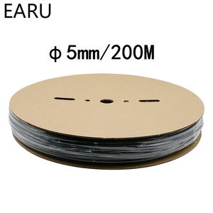 1 rolka 200 metrów kołowrotek 2:1 czarny 5mm średnica termokurczliwe termokurczliwe rury termokurczliwe Tube Sleeving Wrap drutu bubel DIY złącze naprawy