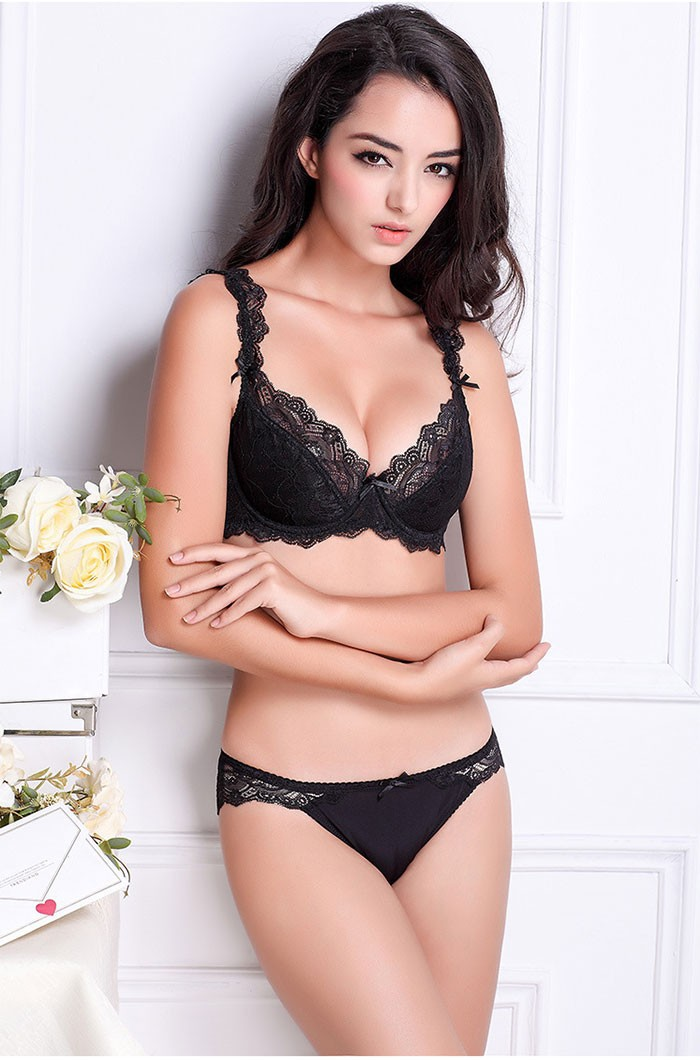e6a9f0385f7cb Sexy Lingerie Lace Bra Set Push Up Bra Slim Sexy Lace Bra Sets Ladies  Gather Transparent Underwear Set B C D Cup WI283USD 22.29 piece