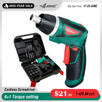 LANNERET 7.2V Li Ion Cordless Electric Screwdriver Household Rechargeable Twistable Handle