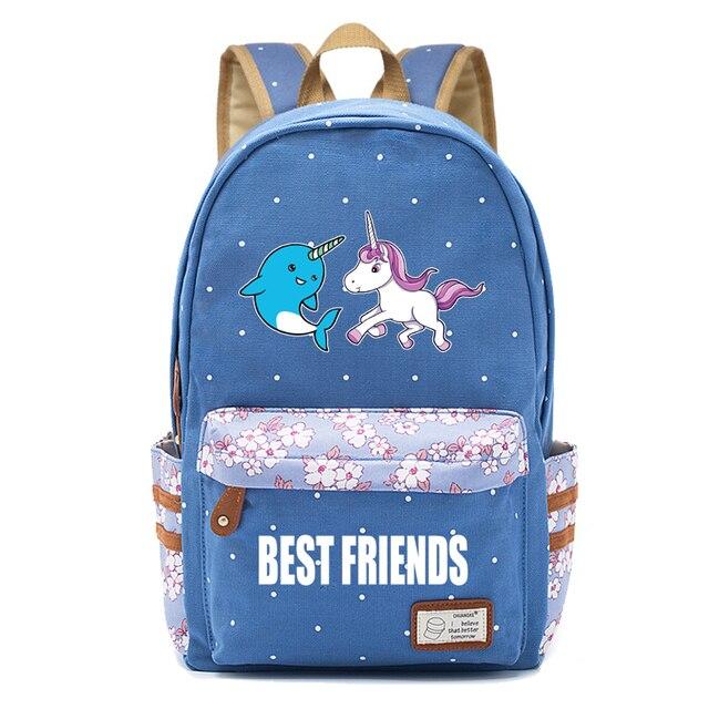 955c8fafc281 Kawaii narwhal Canvas bag unicorn backpack for teenagers Girls women School  travel Shoulder Bag backpacks for adolescent girl