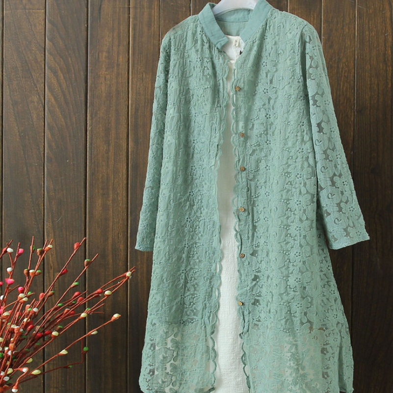 Spring Summer Loose Lace Long Cardigans Long Sleeve Flower Embroidery Cotton Linen Blouse Cardigans 5Colors