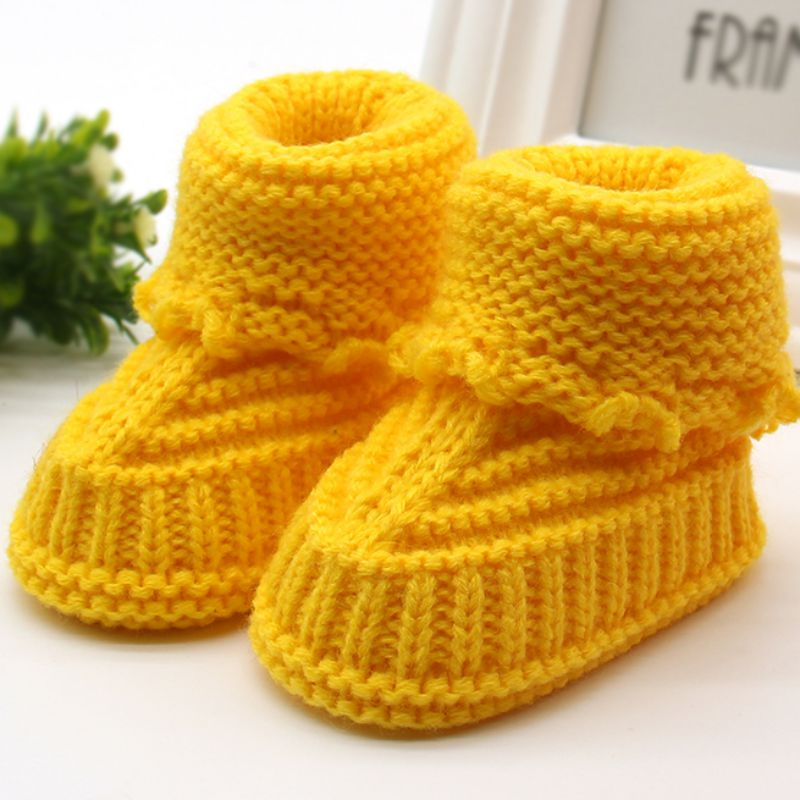 Baby Infant Crochet Knit Fleece Boots Bowknot Toddler Girl Boy Wool Crib Shoes Winter Warm Booties 0-6M