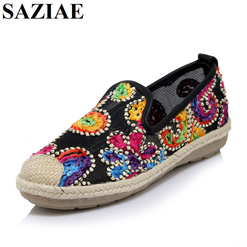 2016 new fashion shoes woman snake patent leather sexy casual style flower shallow mouth women flats rhinestone women s shoes [SAZIAE]Hot Casual Shallow-mouth Women Flowers Mesh Style Women Loafer Flats Nurse Fashion Flats Zapatos Mujer Shoes Woman