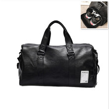 New Large Men PU Leather Sport Gym Bag for Women Fitness Training Travel Duffle Shoulder Bags Handbag Outdoor sac de sport wellvo men pu leather travel duffle bag round bucket shape handle bag crossbody bags shoes storage handbag sac de voyagexa131wc