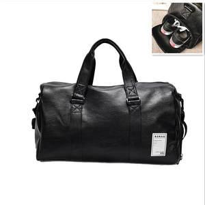 aa0fb3a63bb Large Men PU Leather Sport Gym Bag for Women Handbag Fitness Training  Travel Duffle