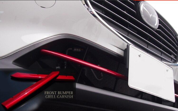 ABS Chrome Car front grille trims for mazda cx-3 cx 3 cx3 2016 2017 2018 Front Bumper Air-inlet Grille 2pcs/lot new arrival for lexus rx200t rx450h 2016 2pcs stainless steel chrome rear window sill decorative trims