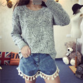 2016 Spring Winter Fashion Women O-neck Solid Plaid Twisted Pullover Sweater Long Sleeve Slit Short Knited Top